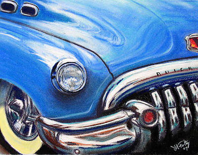 Old School Bus Painting - Blue Blue Buick by Michael Foltz