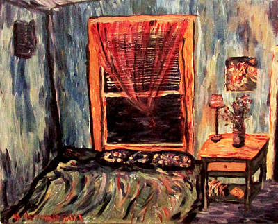 Painting - Blue Blue Electric Blue Thats The Color Of My Room by Denny Morreale