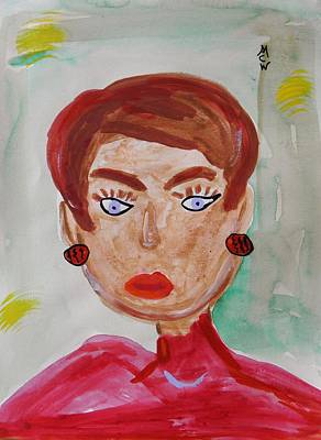 Lady In Red Drawing - Blue Blue Eyes by Mary Carol Williams