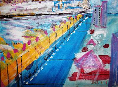 Art Print featuring the painting Blue Boardwalk by Leslie Byrne