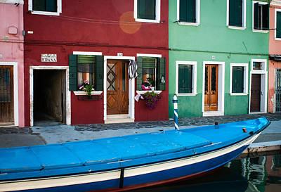 Murano Glass Photograph - Blue Boat by Bob Rowlands