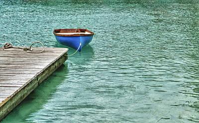 Digital Art - Blue Boat Off Dock by Michael Thomas