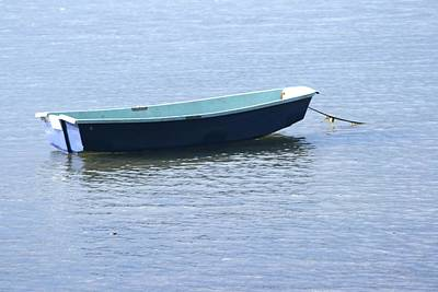 Photograph - Blue Boat On A Blue Day by Phoenix De Vries