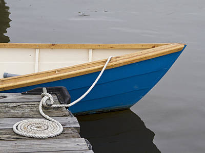 Photograph - Blue Boat With Coiled Line by Sandra Anderson