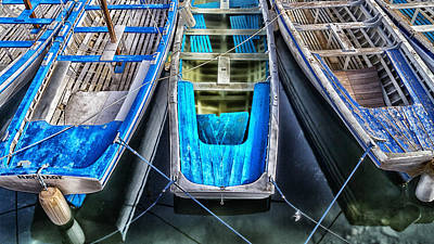 Blue Boats Art Print by Stelios Kleanthous