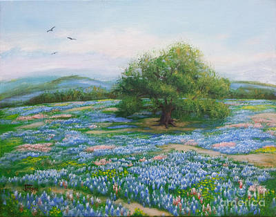 Blue Bonnet Field Art Print by Jimmie Bartlett