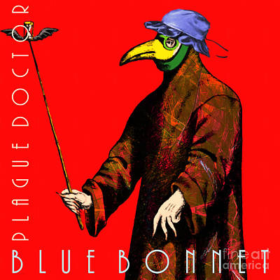 Blue Bonnet Plague Doctor 20140306 Square With Text Art Print by Wingsdomain Art and Photography