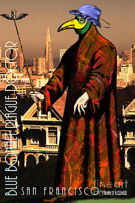 Bacteria Digital Art - Blue Bonnet Plague Doctor Of San Francisco Alamo Square 20140306 With Text by Wingsdomain Art and Photography