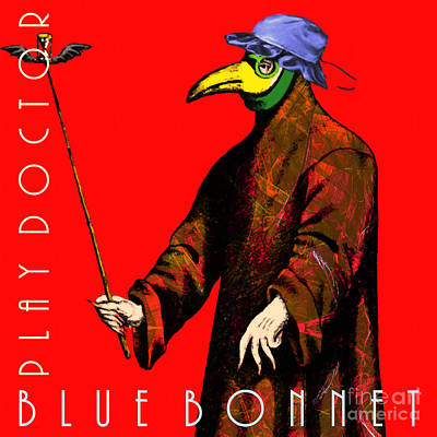 Plague Doctor Photograph - Blue Bonnet Play Doctor 20140306 Square With Text by Wingsdomain Art and Photography