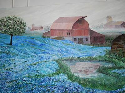 Robert Schmidt Painting - Blue Bonnets Bowl by Robert Schmidt