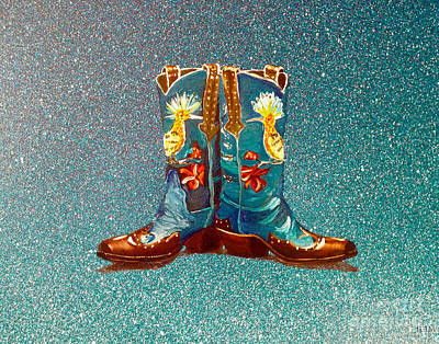 Blue Boots Art Print by Mayhem Mediums