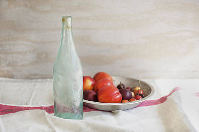 Photograph - Blue Bottle And Fresh Fruit by Rich Franco
