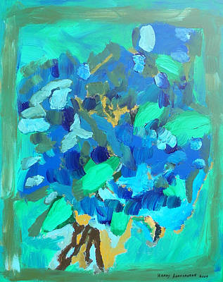 Blue Bouquet Art Print by Harry Hartshorne Jr