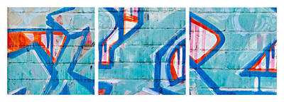 Blue Brick Graffiti Art Print by Art Block Collections