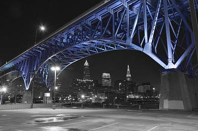 Downtown Cleveland Photograph - Blue Bridge by Frozen in Time Fine Art Photography