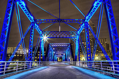Rapids Photograph - Blue Bridge by Twenty Two North Photography