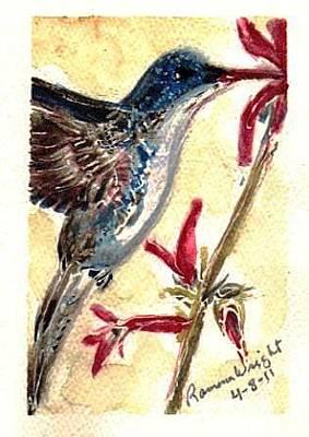 Painting - Blue Brown Hummingbird by Ramona Wright