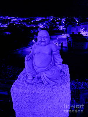Blue Buddha And The Blue City Art Print by Linda Prewer