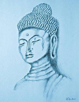 Buddha Sketch Drawing - Blue Buddha by Victoria Lakes