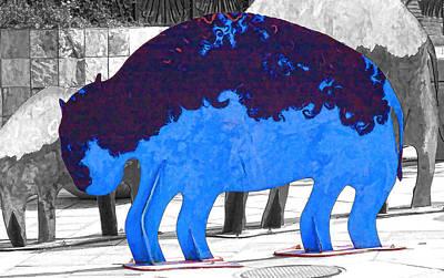 Digital Art - Blue Buffalo by Audreen Gieger