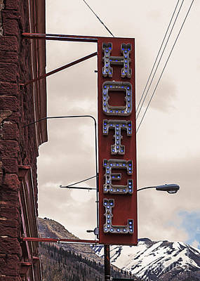 Blue Bulbs Hotel Sign Art Print by Janice Rae Pariza