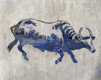 Agriculture Digital Art - Blue Bull by Aged Pixel
