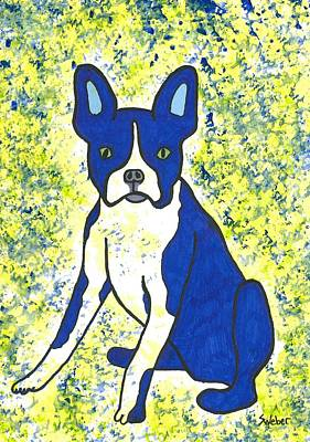 Blue Bulldog Art Print by Susie Weber
