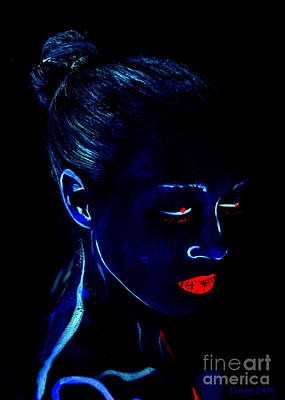 Chignon Painting - Blue Bun And Red Lips by David ZAW