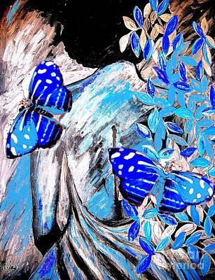 Painting - Blue Butterflies And Blue  Beauty  by Saundra Myles