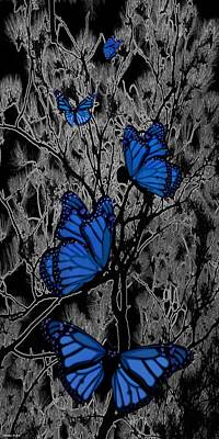 Digital Art - Blue Butterflies by Barbara St Jean
