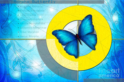 Moth-butterflies Digital Art - Blue Butterfly by Bedros Awak