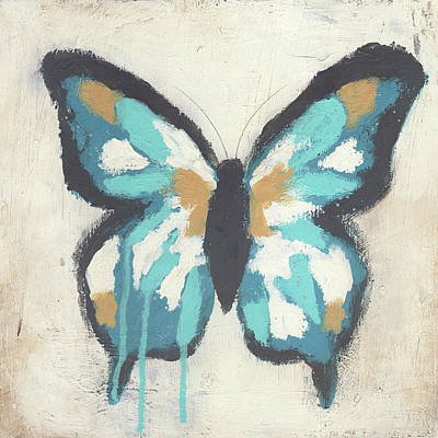 Abstracted Animal Painting - Blue Butterfly by Cassandra Cushman