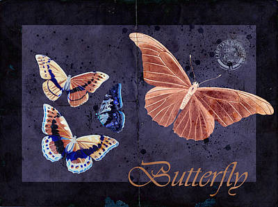 Butterlfy Digital Art - Blue Butterfly Etc - S044a by Variance Collections