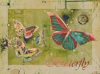 Blue Butterfly Etc - S55ct01 Art Print by Variance Collections