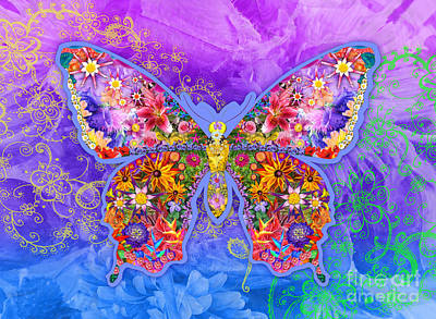 Multi Colored Digital Art - Blue Butterfly Floral by Alixandra Mullins