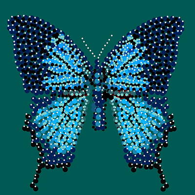 Digital Art - Blue Butterfly Green Background by R  Allen Swezey