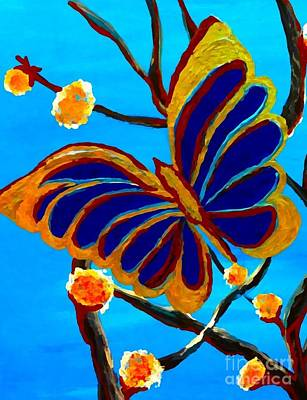 Painting - Blue Butterfly I by Saundra Myles
