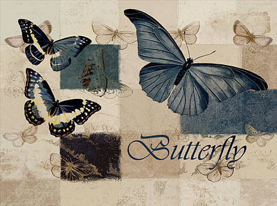 Blue Butterfly - J118118115-01a Art Print by Variance Collections