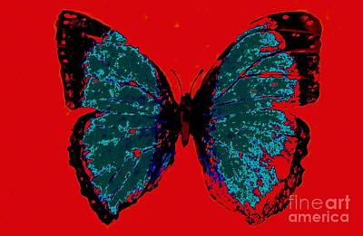Art Print featuring the digital art Blue Butterfly  by Jasna Gopic