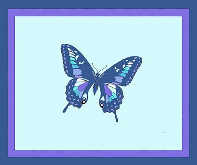 Blue Butterfly Art Print by L Brown