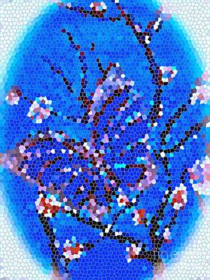 Painting - Blue Butterfly Mosaic by Saundra Myles