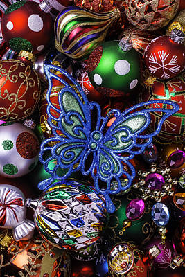 Embellishments Photograph - Blue Butterfly Ornament by Garry Gay