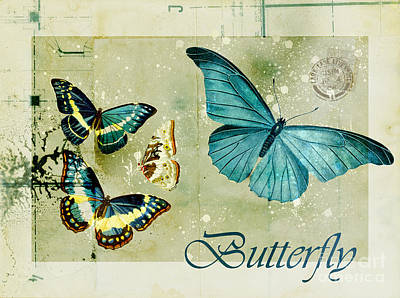 Insect Wall Art - Digital Art - Blue Butterfly - S55c01 by Variance Collections