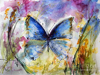 Painting - Blue Butterfly Watercolor by Ginette Callaway