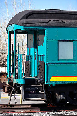 Caboose Photograph - Blue Caboose by Art Block Collections