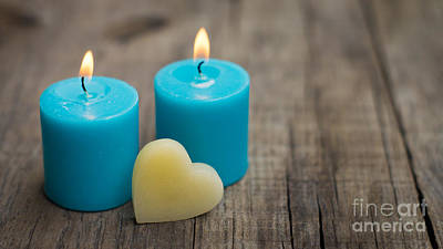 Affection Photograph - Blue Candles by Aged Pixel