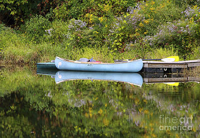 Blue Canoe Art Print by Deborah Benoit
