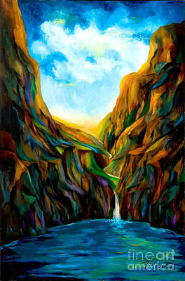 Stream Lanscape Painting - Blue Canyon Waterfall by Larry Martin