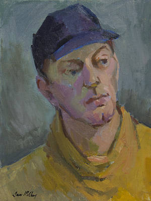 Baseball Cap Painting - Blue Cap by Diane McClary