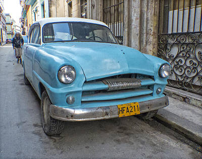 Photograph - Blue Car In Havana by Ann Tracy